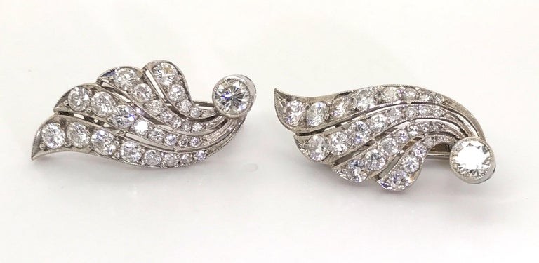 3.70 Carat Diamond & Platinum Wing Ear Clips For Sale 3