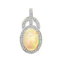 3.70 Carat Ethiopian Opal and White Diamond 14 Karat Rose Gold Pendant