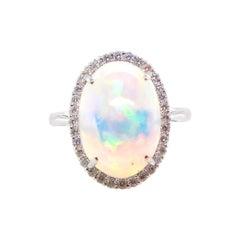 3.70 Carat Ethiopian Opal Diamond Cluster Ring Set in Platinum