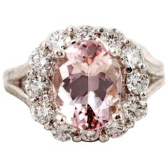 3.70 Carat Exquisite Natural Morganite and Diamond 14K Solid White Gold Ring