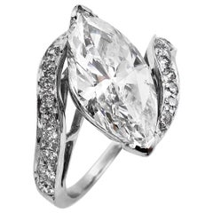 3.70 Carat Marquise Diamond Engagement Wedding Platinum Ring EGL USA