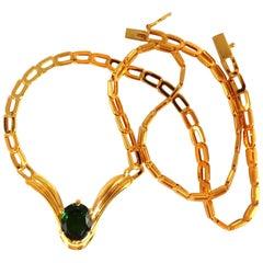 """3.70 Carat Natural Lush Green Chrome Diopside Necklace 14 Karat """"V"""" Form Gown"""
