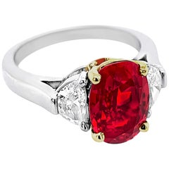 3.70 Carat Oval Ruby Ring with Half-Moon Side Diamonds in Platinum