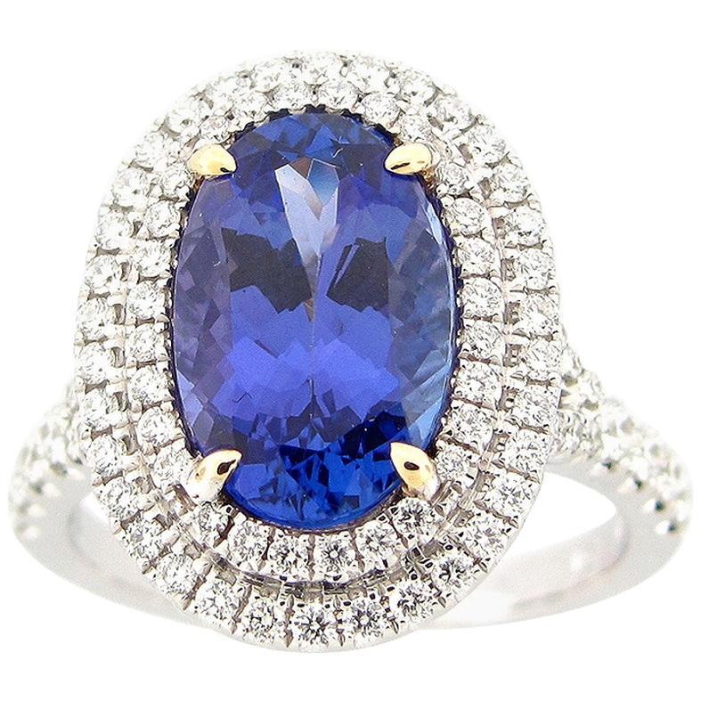 3.70 Carat Oval Tanzanite and Diamond Cocktail Ring