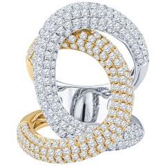 3.70 Carat Pave Diamond 18 Karat White and Yellow Gold Swirl Ring