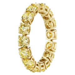 3.70 Carat Round Yellow Diamond Eternity Band Ring