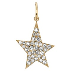 3.70 Carats Old European Cut Diamonds Pave Set in a Yellow Gold Star Charm
