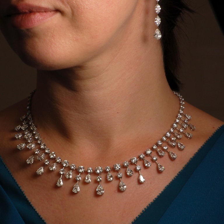 This attention grabbing necklace contains 37.08 carats of round and pear shaped diamonds. Meticulously designed to maximize flowing movement and diamond sparkle, this a truly exquisite piece of art.