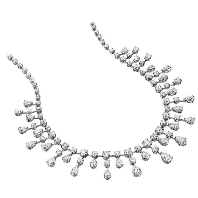Sasha Primak 37.08 Carat Diamond and Platinum Statement Necklace For Sale