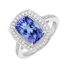 3.71 Carat Genuine Tanzanite and White Diamond 14 Karat White Gold Ring