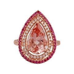 3.71 Carat Morganite, Pink Sapphire & Diamond Ring Studded in 18k Rose Gold