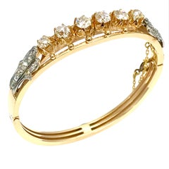 3.72 Carat Old Mine Cut and Rose Cut Diamond Yellow Gold Bangle Bracelet