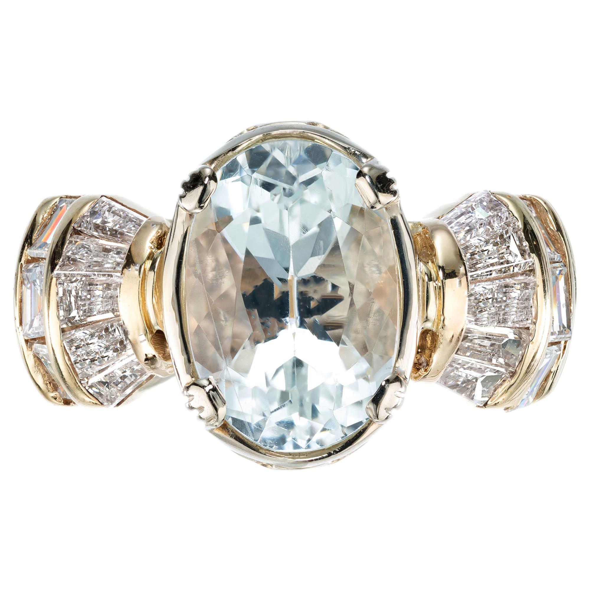 3.72 Carat Oval Aquamarine Baguette Diamond Gold Cocktail Ring