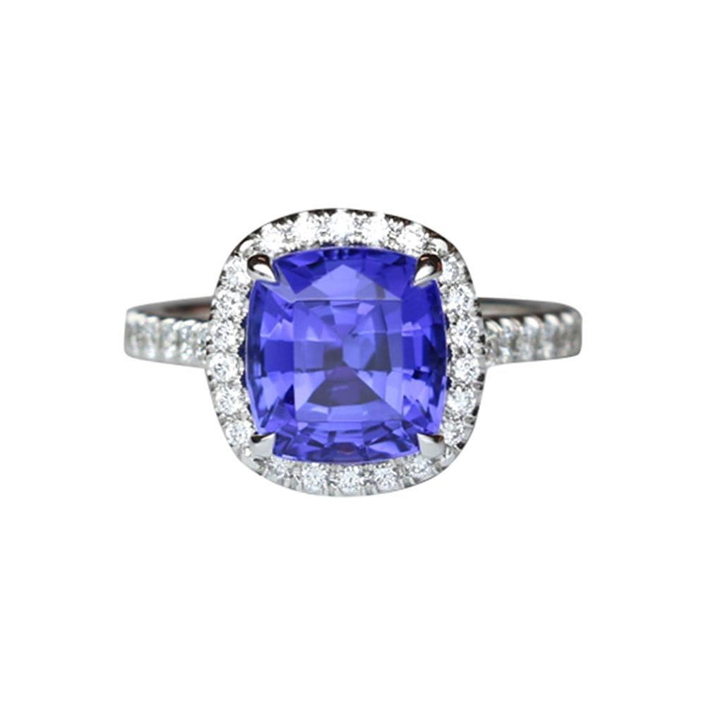 3.72 Carat Tanzanite Cushion and Diamond Platinum Ring Fine Estate Jewelry