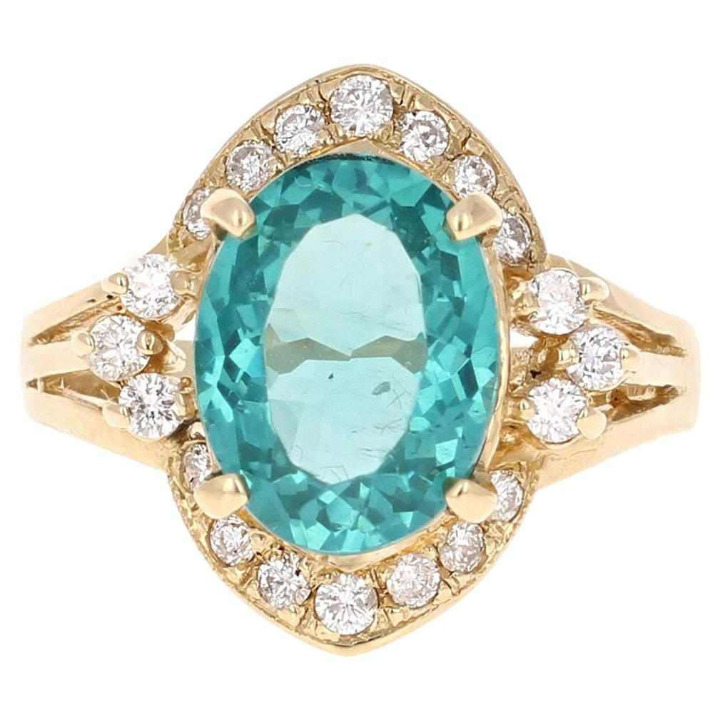 3.73 Carat Apatite Diamond 14 Karat Yellow Gold Cluster Ring