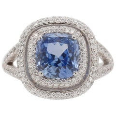 3.73 Carat Blue Ceylon Sapphire and Diamond Ring
