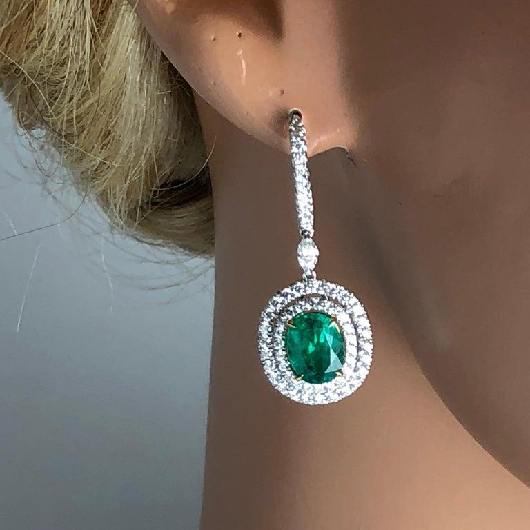 Contemporary 3.73 Carat Fine Emerald and 1.76 Carat Diamond Earrings For Sale