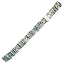 3.73 Carat Diamond Baguette and Round Diamond Tennis Bracelet in 18 Karat White