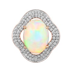 3.73 Carat Ethiopian Opal and White Diamond 14 Karat Rose Gold Pendant
