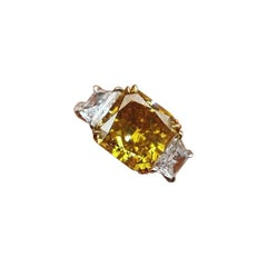 3.73 Carat Fancy Brown Yellow Diamond Ring