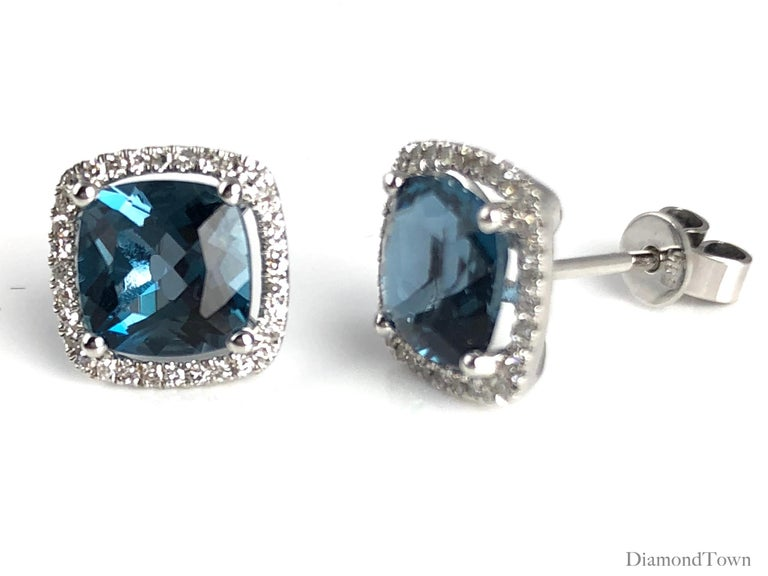 Contemporary 3.73 Carat London Blue Topaz Halo Stud Earrings in 14 Karat Gold by Diamond Town For Sale