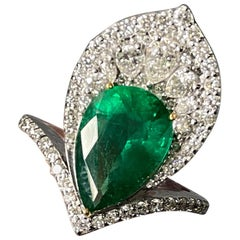 3.73 Carat Pear Shape Emerald and Diamond Cocktail Ring