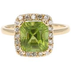 3.73 Carat Peridot Diamond 14 Karat Yellow Gold Cocktail Ring