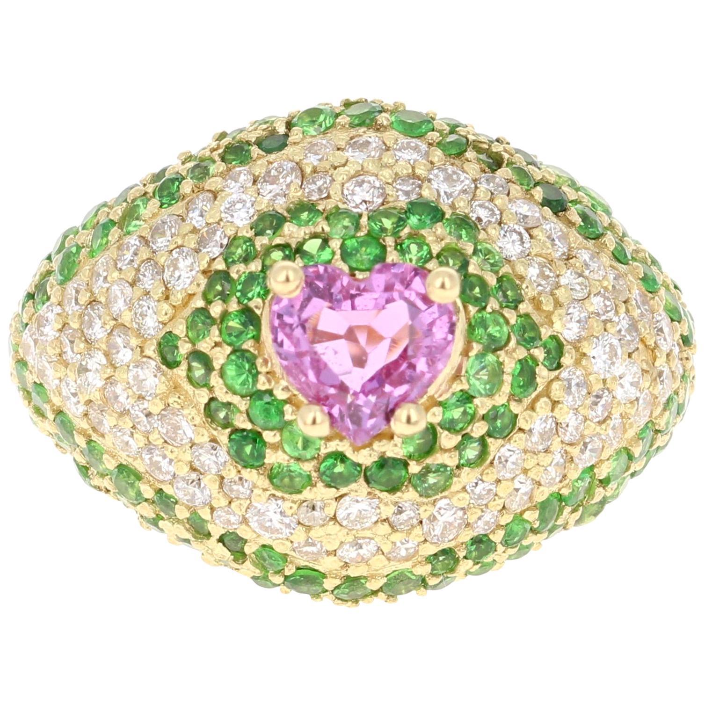 3.73 Carat Pink Sapphire Tsavorite Diamond 18 Karat Yellow Gold Ring