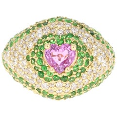 3.73 Carat Pink Sapphire Tsavorite Diamond 18 Karat Yellow Gold Ring