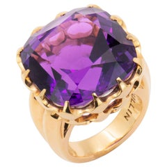 37.38 Carat Handmade Pink Gold Cushion-Cut Amethyst Cocktail Ring