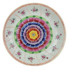 37.3CM 18C Chinese Porcelain Bencharong SE Asian Charger Antique Lotus China