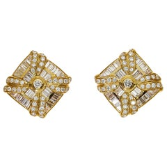 Chatila 3.74 Carat Diamond and Yellow Gold Earrings