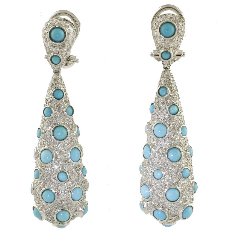 3.74 Carat Diamonds, Turquoise, White Gold Earrings