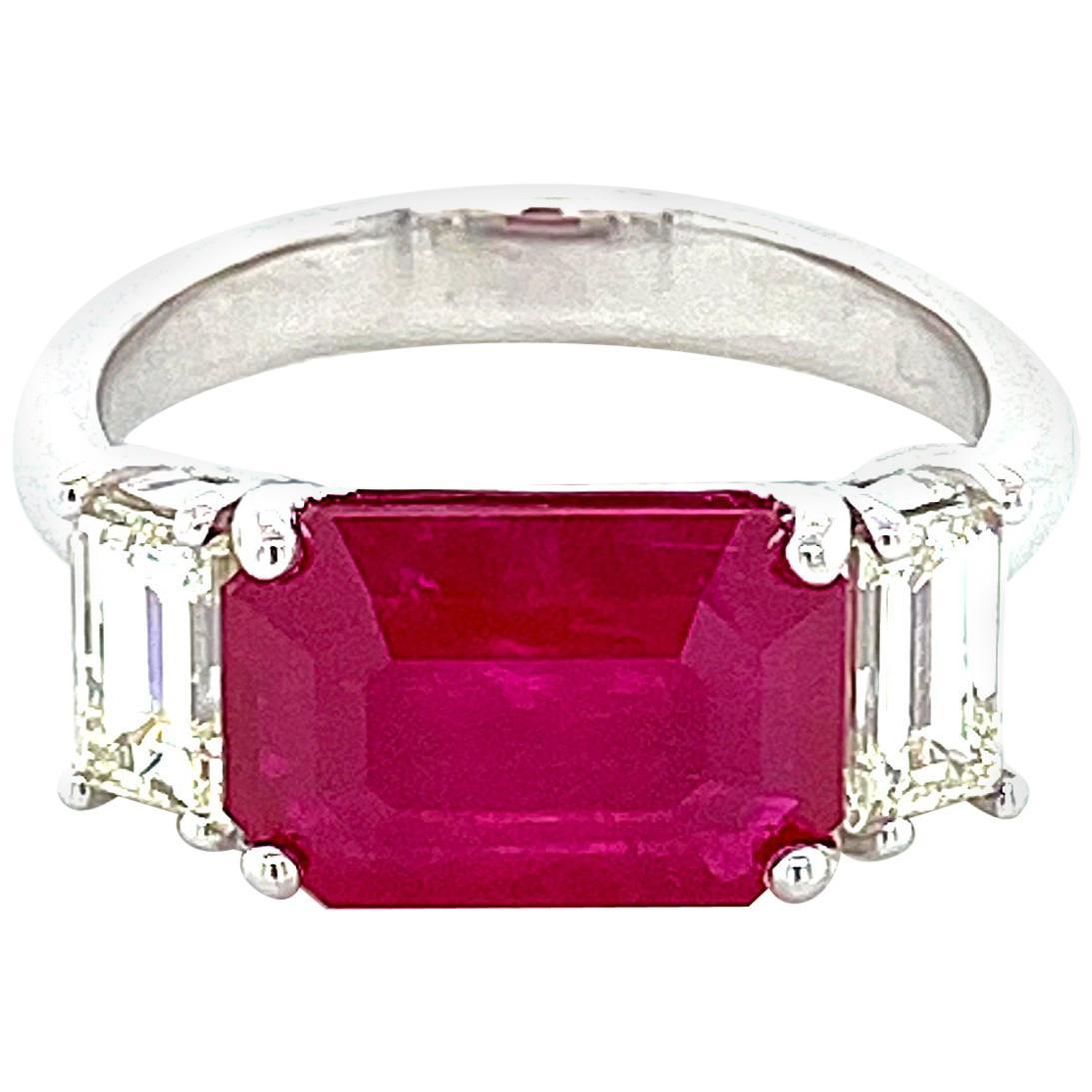 3.74 Carat Emerald Cut Burmese Ruby and Diamond Gold Engagement Ring