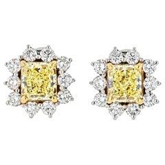 3.74 Carat Fancy Yellow Radiant Cut Halo Set Diamond Stud Earrings