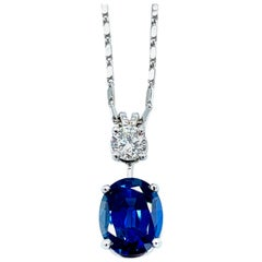 3.74 Carat No Heat Oval Sapphire and Round Brilliant Diamond Pendant Necklace