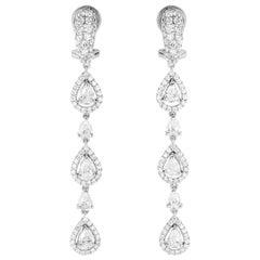 3.74 Carat Pear-Cut Diamond Drop 18 Karat White Gold Dangle Earrings