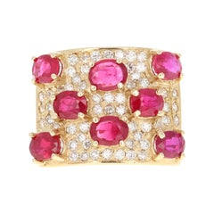 3.74 Carat Ruby Diamond 14 Karat Yellow Gold Cocktail Ring