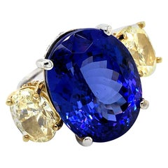 37.47 Carat Diamonds and Tanzanite Ring 18 Karat Gold