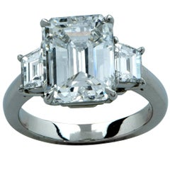 3.74 Carat Emerald Cut Diamond GIA Graded Engagement Ring
