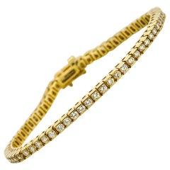 3.75 Carat 14 Karat Yellow Gold Channel Set Diamond Tennis Bracelet