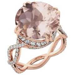 3.75 Carat 14 Karat Rose Gold Morganite and Diamonds Round Engagement Ring
