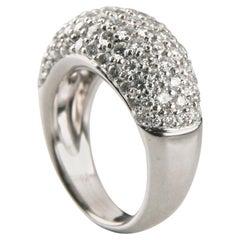 3.75 Carat 18 Karat White Gold Round Pavé Diamond Dome Plaque Ring