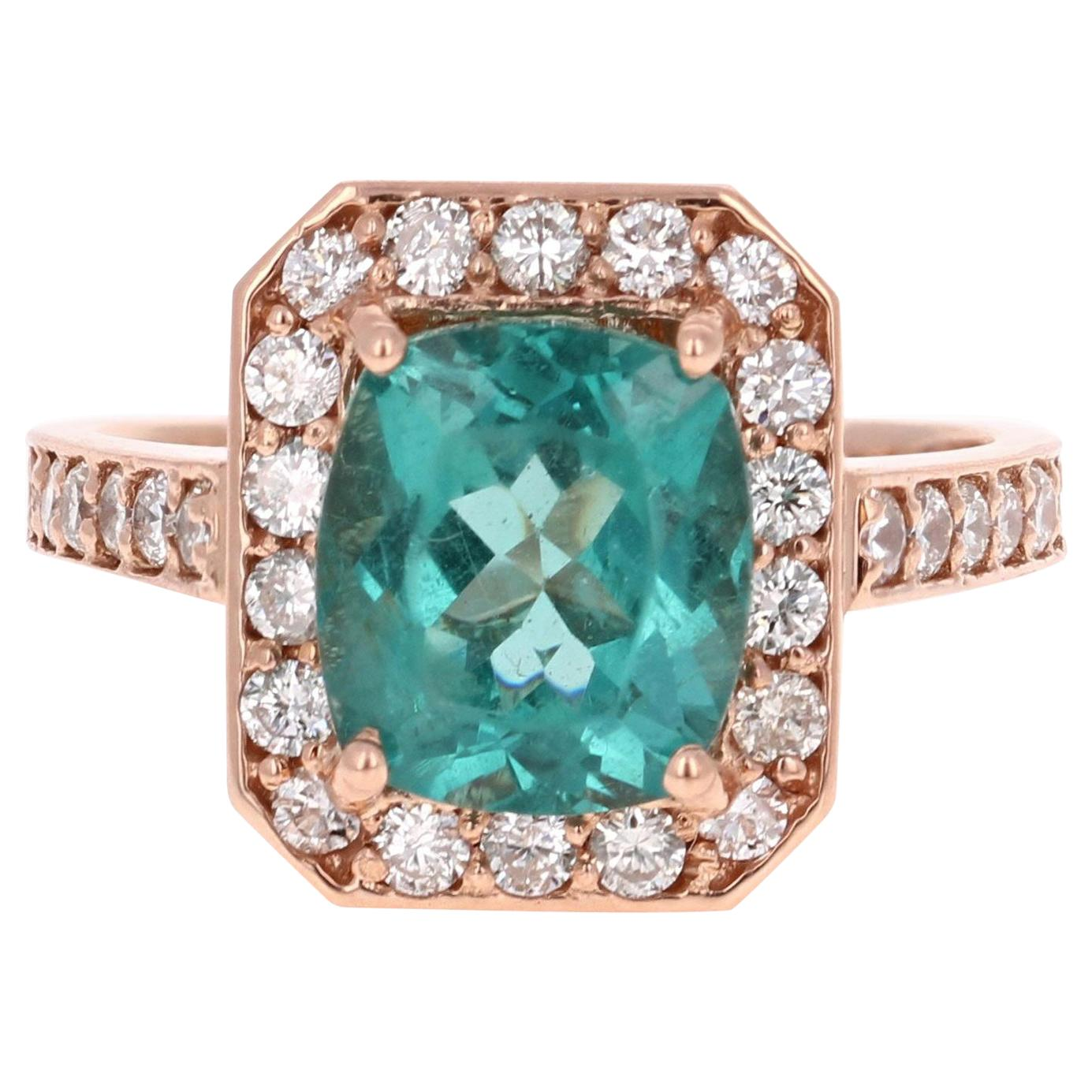 3.75 Carat Apatite Diamond 14 Karat Rose Gold Halo Engagement Ring