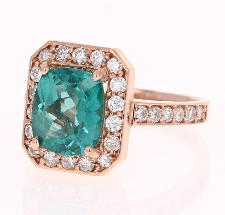 3.75 Carat Apatite Diamond Rose Gold Engagement Ring For