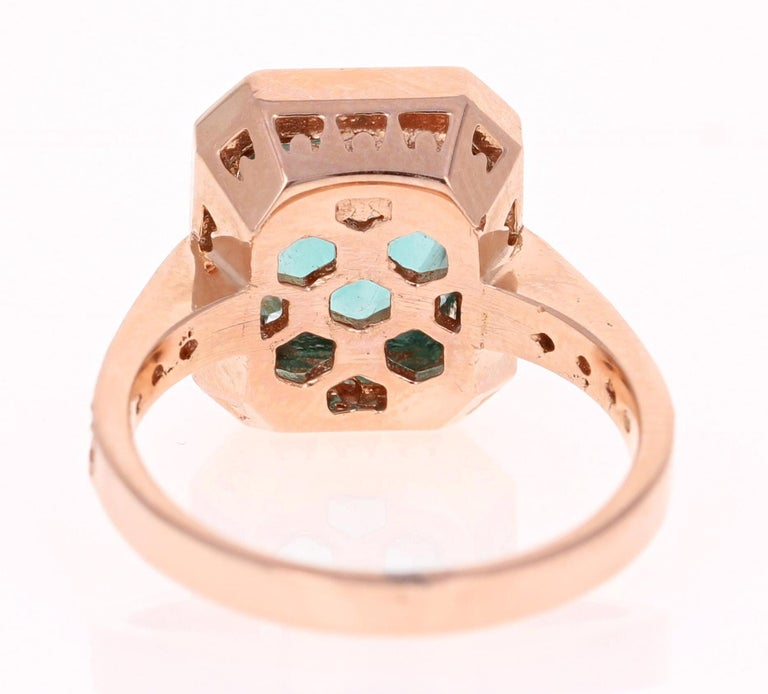 3.75 Carat Apatite Diamond Rose Gold Engagement Ring In New Condition For Sale In San Dimas, CA