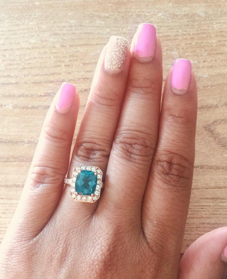 Women's 3.75 Carat Apatite Diamond Rose Gold Engagement Ring For Sale