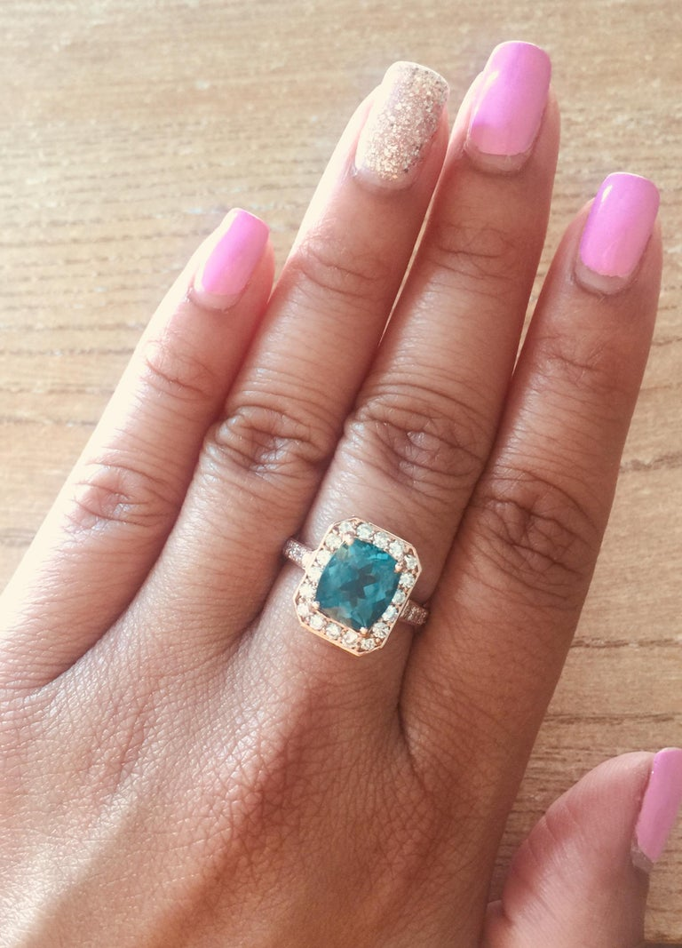 3.75 Carat Apatite Diamond Rose Gold Engagement Ring For Sale 1