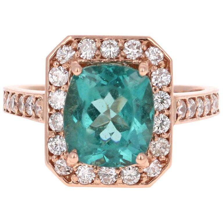 3.75 Carat Apatite Diamond Rose Gold Engagement Ring For Sale