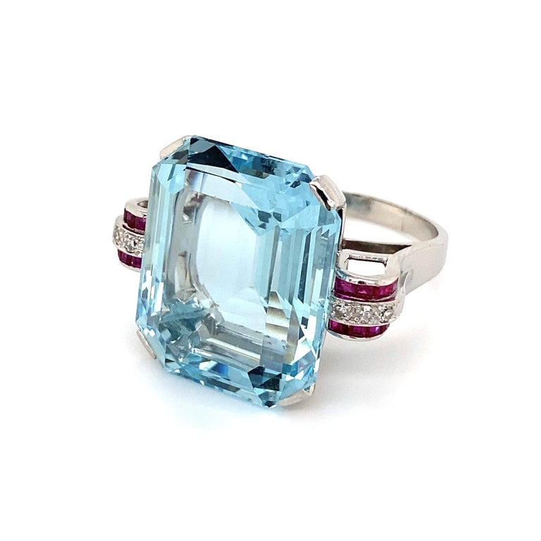 Mixed Cut 37.5 Carat Aquamarine Ruby and Diamond Platinum Ring Estate Fine Jewelry For Sale